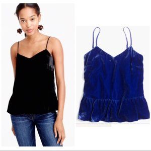 J. Crew Petite Velvet Cami Top in Brunswick Blue